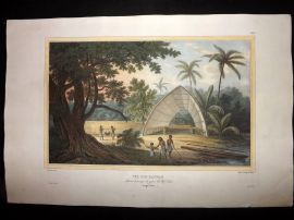 d'Urville 1835 Folio Hand Col Print. View of a Hangar. Tonga Pacific